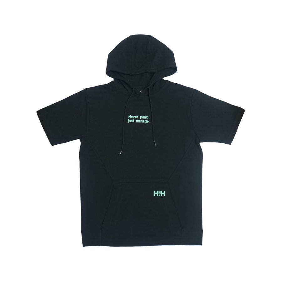 HDMH Unisex S/S Hoodie Never panic, just manage. - Black