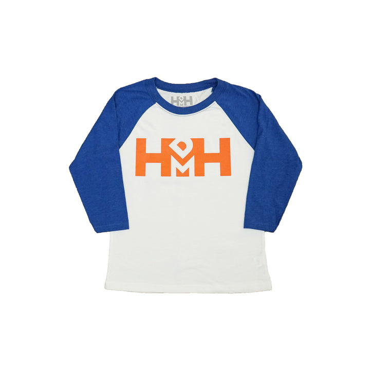 HDMH Youth 3/4 Raglan - White and Royal Blue