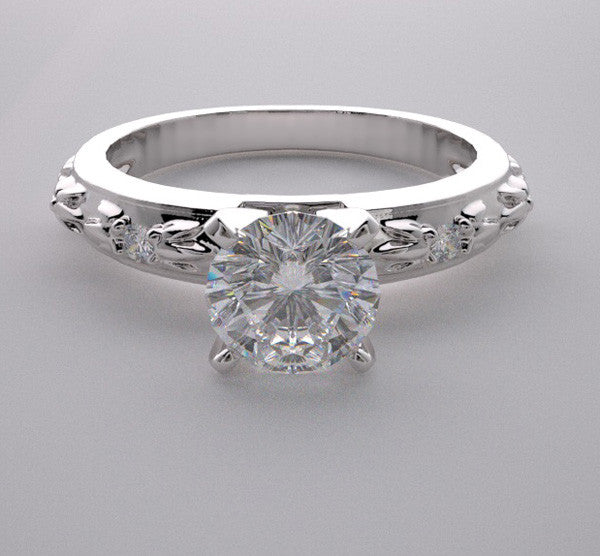 Unique Engagement Ring Setting Diamond Accented, Center Quality Swarovski Gem