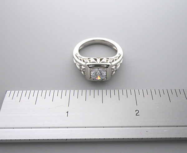 14k Diamond Engagement Ring Setting Lotus Collection, Center Quality Swarovski Gem