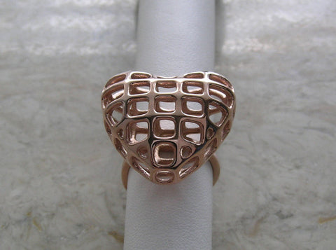 Trendy Heart Shape Ring Rose 14K Gold Plated