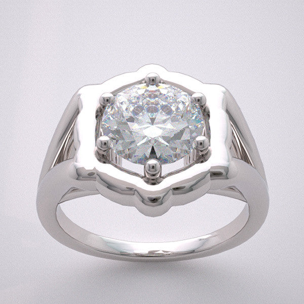 14k Traditional Flush Bezel Prong Ring Setting, Center Quality Swarovski Gem