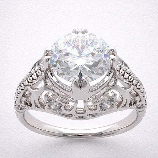 14k Filigree Engagement Ring Setting Antique Art Deco Style Diamond Accents, Quality Swarovski Gem