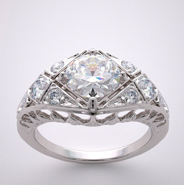 14k Engagement Ring Setting Art Deco Styling With Diamond Accents, Center Quality Swarovski Gem