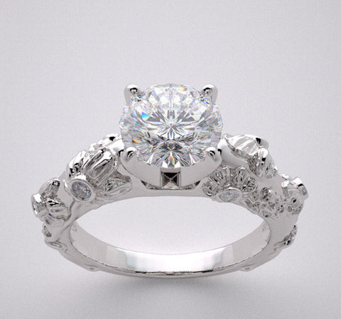 14k Art Deco Style Diamond Accent Engagement Ring, Diamond Accents, Center Quality Swarovski Gem