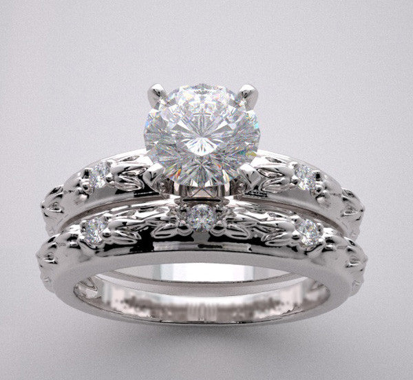 14k Engagement Bridal Ring Setting Set Having Elegant Bark Design With Diamond Accents, Center Quality Swarovski Gem