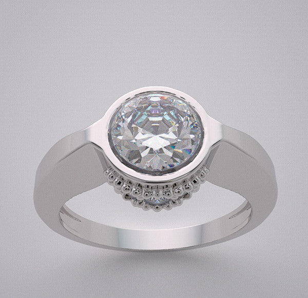 14k Feminine Design Engagement Ring Settings Diamond Accents Lotus Collection, Center Quality Swarovski Gem
