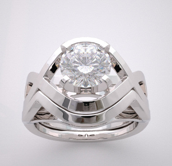 14k Contemporary Diamond Engagement Ring Setting, Center Stone Swarovski Gem