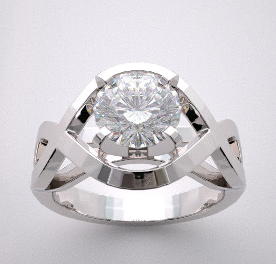 14k Artistic Engagement Ring Setting Architectural Designing Custom Made For Your Stone, Center Quality Swarovski Gem