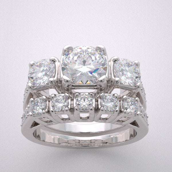 14k Important Diamond Accent Engagement Ring Bridal Wedding Band Set, Center Quality Swarovski Gem