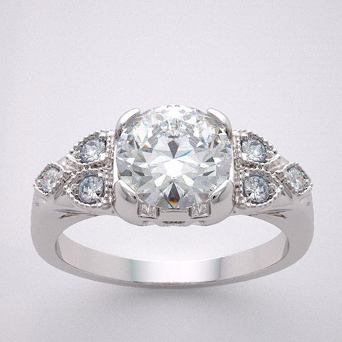 14k Different Art Deco Style Engagement Ring Setting Diamond And Mil Grain Accent, Center Quality Swarovski Gem