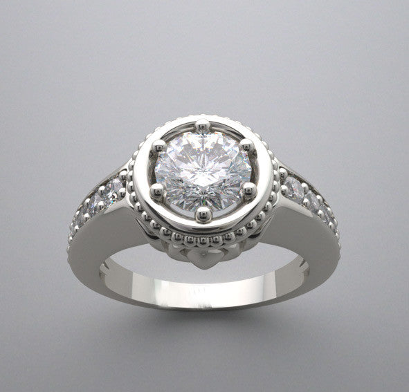 14k Engagement Ring Setting With Elegant Feminine Details And Diamond Accents, Center Quality Swarovski Gem