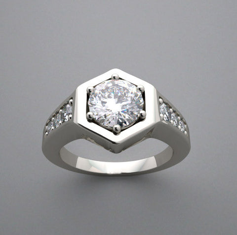14k Unusual Hexagonal Flush Set Pave Diamond Engagement Ring Setting, Center Quality Swarovski Gem