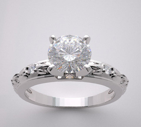 14k Unique Engagement Ring Setting Diamond Accented, Center Quality Swarovski Gem