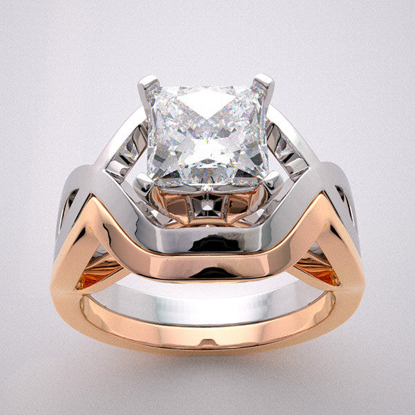 14k Geometric Deco Style Design Two Tone Gold Engagement Ring Setting, Center Quality Swarovski Gem