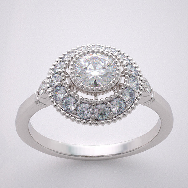 14k Halo Mil Grain Engagement Ring Settings Diamond Accent, Center Quality Swarovski Gem