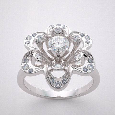 14k Unique Flower Designed Ring Setting With Diamond Accents, Center Quality Swarovski Gem