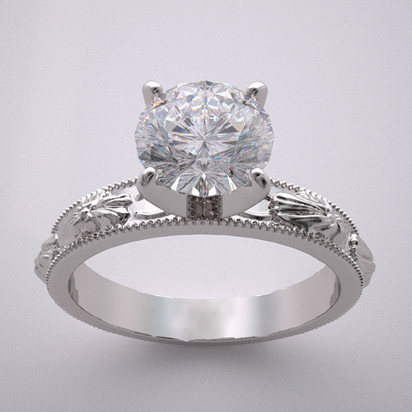 14k Flower Blossom Engagement Ring Setting Mountings, Center Quality Swarovski Gem