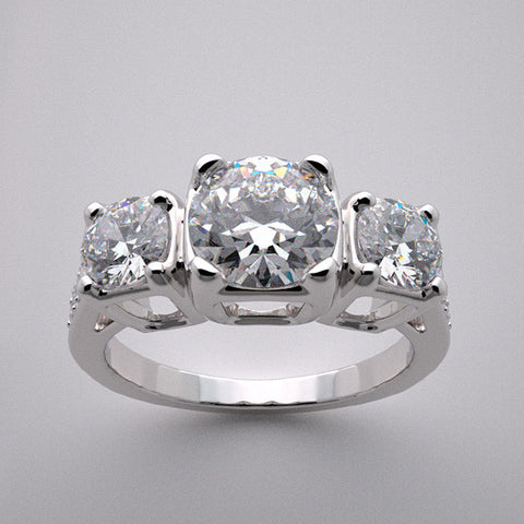 14k Special Three Stone Diamond Engagement Ring Setting, Center and Side Set With Quality Swarovski Gems