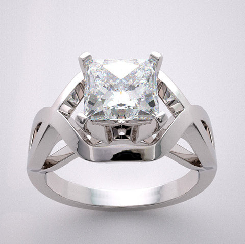 14k Geometric Deco Style Engagement Ring Setting From The Architectural Design Collection, Center Quality Swarovski Gem