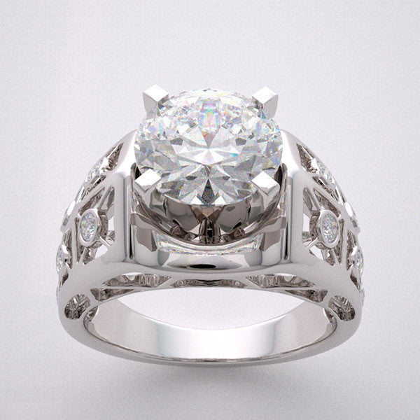 14k Outstanding Art Deco Style Architectural Design Diamond Accent Engagement Ring Setting, Center Quality Swarovski Gem