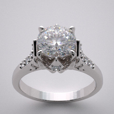 14k Designer Crown Motif Engagement Ring Setting With Accent Diamonds, Center Stone Swarovski Gem