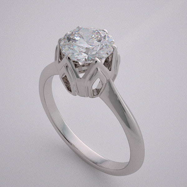 14k Simple Solitaire Tulip Engagement Ring Setting, Center Quality Swarovski Gem