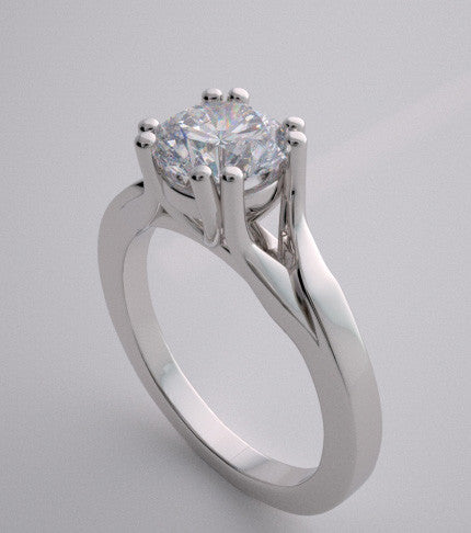 14k Elegant Unusual Prong Set Solitaire Engagement Ring Setting, Center Quality Swarovski Gem