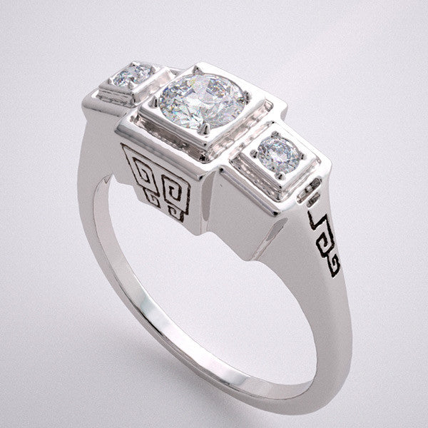 14k Three Stone Engagement Ring Setting With Stylized Greek Key Design, Center Quality Swarovski Gem