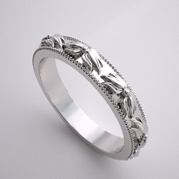 14k Flowing Flower Designed Wedding Band Ring