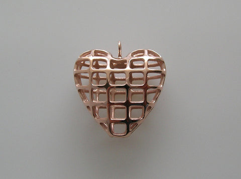 14K Rose Gold Plated Heart Shape Design Pendant