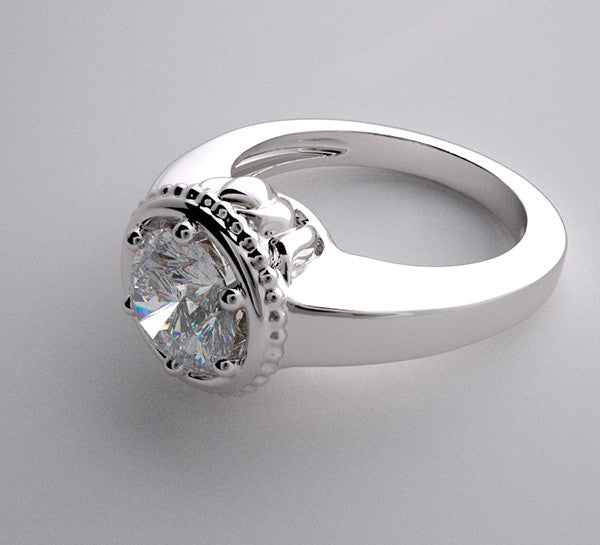 14k Feminine Romantic Lotus Collection Engagement Ring Setting With Accented Diamonds, Center Quality Swarovski Gem