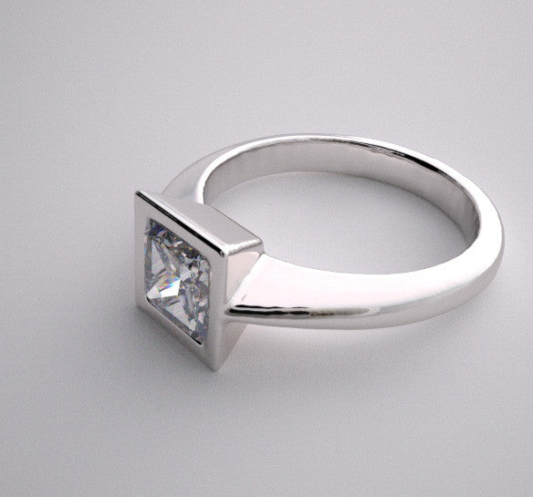 14k Simple Contemporary Engagement Ring Setting Princess Square Bezel Design, Center Swarovski Gem