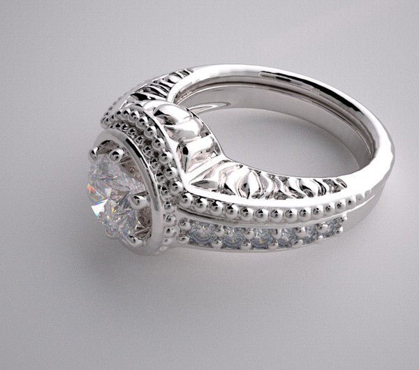 14k Diamond Engagement Bridal Rings Setting Set With Mil Grain Texture, Center Quality Swarovski Gem