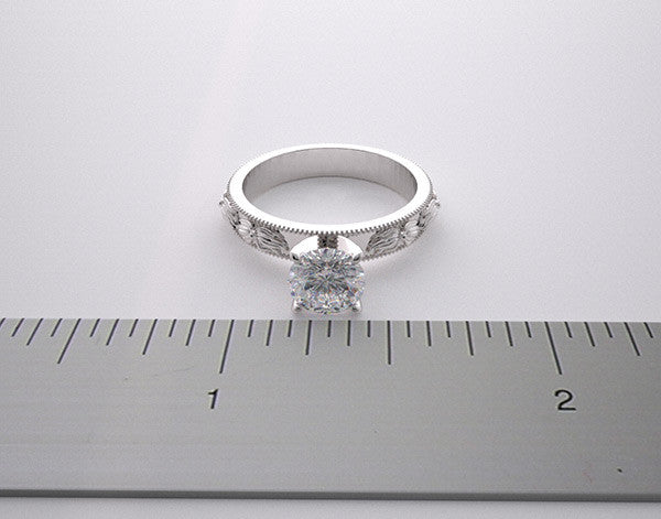 14k Engagement Ring Setting Flowing Flower Design, Center Quality Swarovski Gem