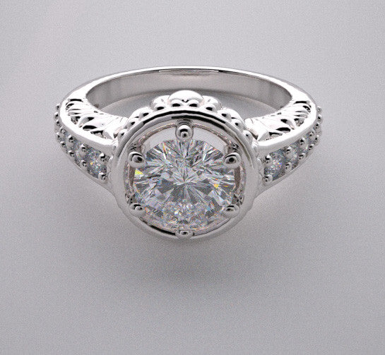 14k Feminine Diamond Accent Engagement Ring Setting, Center Quality Swarovski Gem