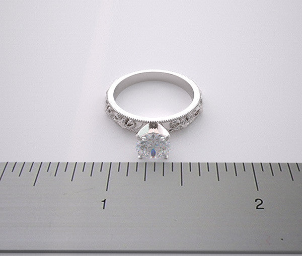 14k Romantic Engagement Ring Setting Vintage Bow Knot Design, Center Quality Swarovski Gem