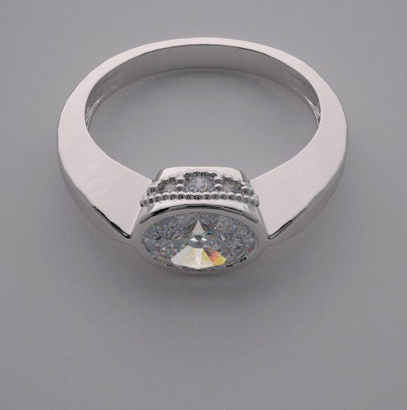 14k East West Oval Shape Stone Diamond Accent Ring Setting, Center Quality Swarovski Gem