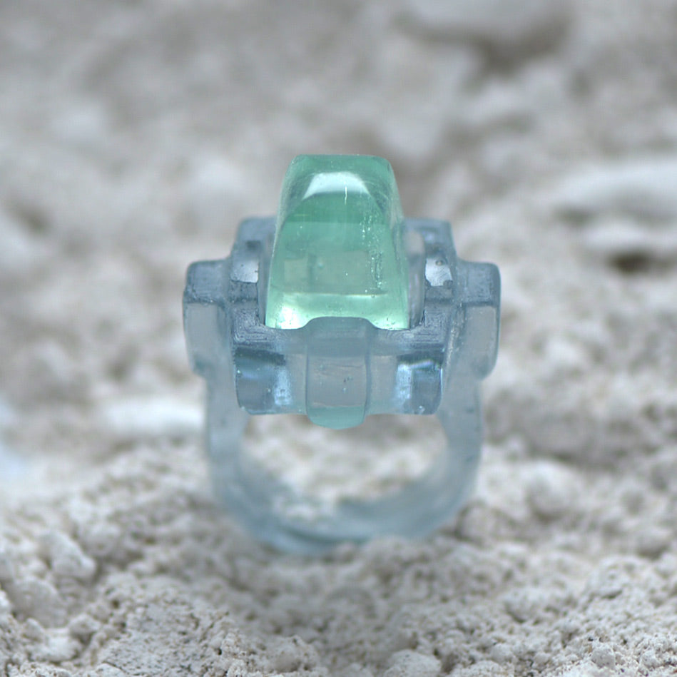 Glass Casting Art Deco Style Ring