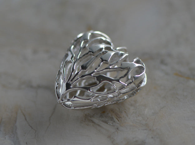 Antioxidant Sterling Silver Heart Bamboo Pendant
