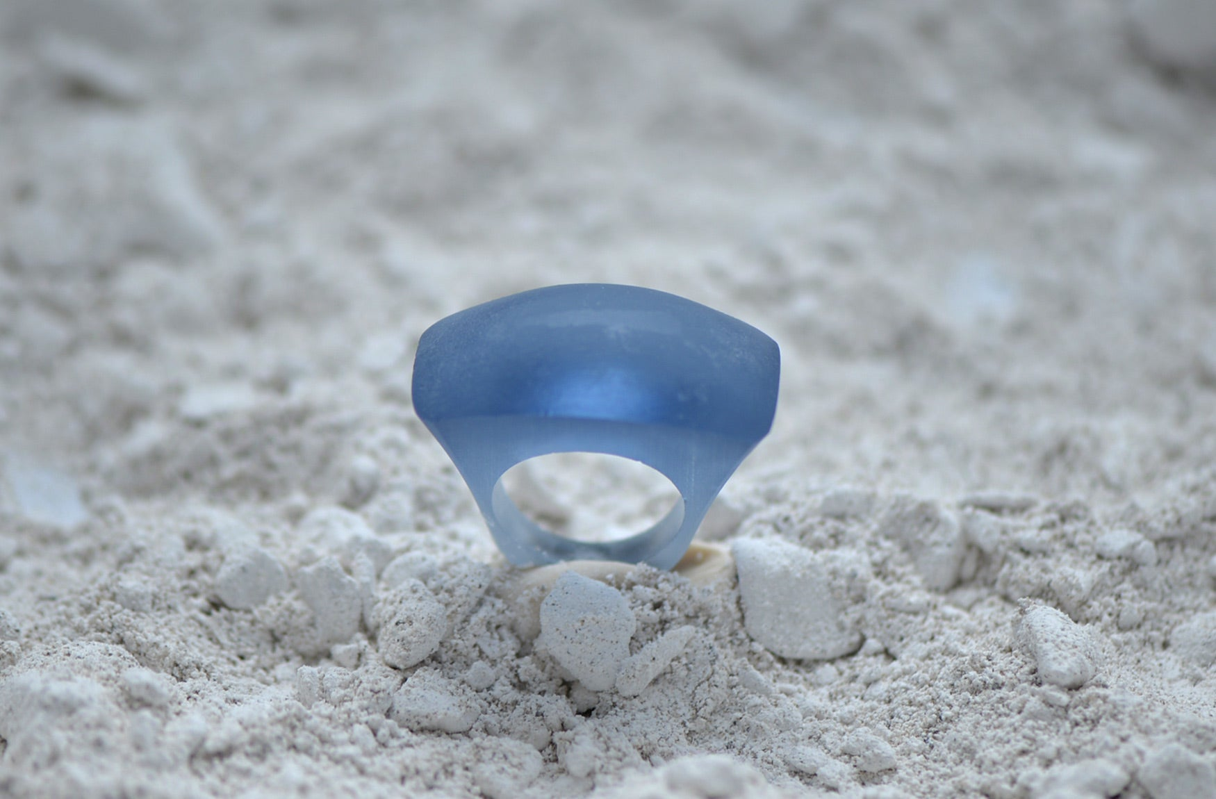 Large Fashion Ring in Blue Cristal Glass