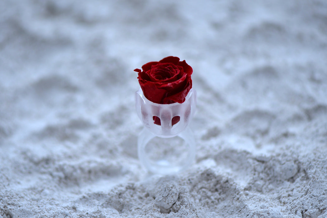 Crystal Glass Ring with a Rose Flower