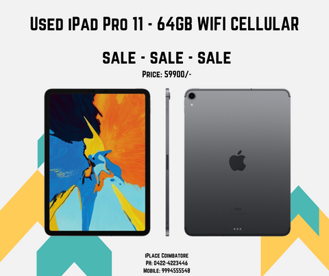 USED IPAD PRO 11 SPACE GREY 64GB WIFI CELLULAR FOR SALE - IPLACE COIMBATORE