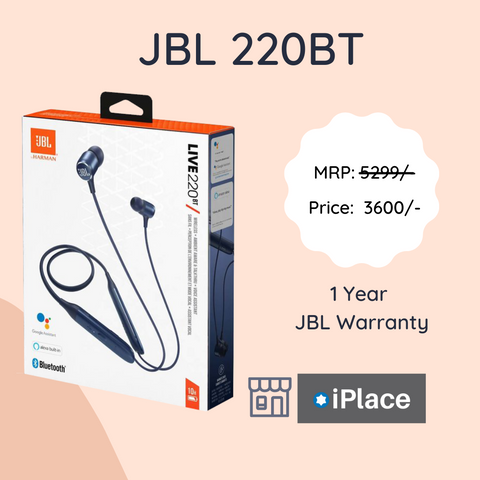 Original JBL 220BT - Bluetooth Headset with 10 hours play time - 1 year JBL warranty