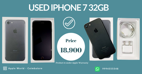 Used iPhone 7 32GB Matt Black for sale @ 18900/- Under Apple Warranty