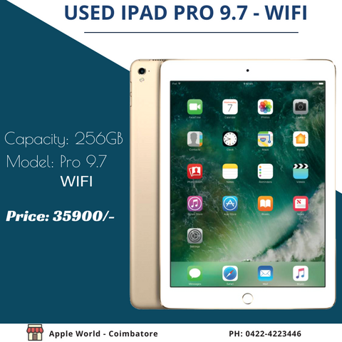 Used iPad Pro 9.7 256GB WIFI under Apple Warranty for sale @ 35900/-