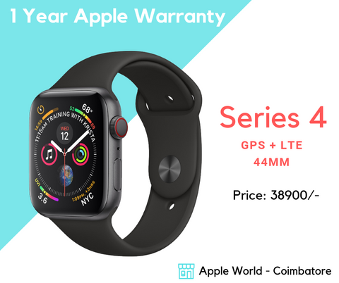 Apple Watch Series 4 - 44MM Black GPS + LTE @ 38900/-  @ Apple World Coimbatore