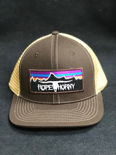 Rope Horny Brown/Khaki Skull and Mountains Patch Cap