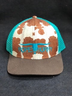 Rope Horny Cow Print Turquoise Mesh Trucker Cap Turquoise Logo