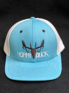 Horny Buck Baby Blue/White Mesh Trucker Cap Chocolate/White Logo